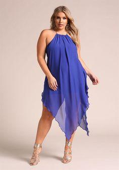 Plus Size Clothing   Plus Size Chain Strap Pointed Chiffon Midi Dress   Debshops