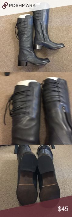 Brand New Steven Madden Boots Size 8, dark gray, leather upper, brand new without box Steve Madden Shoes Lace Up Boots