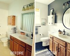 - mobile home decorating - Bathroom Decor Bathroom Renos, Bathroom Renovations, Home Remodeling, Bathroom Ideas, Shower Bathroom, Vanity Bathroom, Bathroom Inspo, Bathroom Cabinets, Bathroom Styling