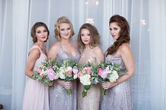 The sparkle and sequin dresses were perfect for bridesmaids in this era. Photo from Manisha Moments - Great Gatsby Wedding Shoot collection by Manisha Moments Photography