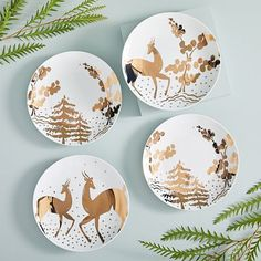 west elm Gilded Forest Salad Plates (Set of Modern Christmas Decor, Christmas Decorations, Holiday Decor, Christmas Salad Plates, Holiday Dinnerware, Stoneware Dinnerware Sets, Hand Built Pottery, Wood Ornaments, Plate Sets