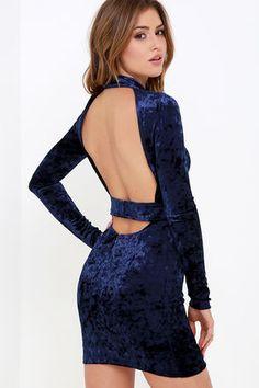 Oh, Behave! Navy Blue Velvet Bodycon Dress at Lulus.com!