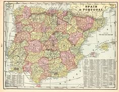 1900 Antique SPAIN Map Vintage Map of Spain and Portugal Gallery Wall Art #6173 Antique Maps, Vintage Maps, Vintage Wall Art, Map Of Spain, Spain And Portugal, Fish Wall Art, Fish Art, Schnauzer Art, Vintage Botanical Prints