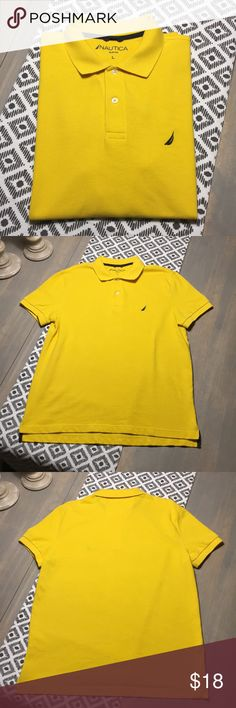Nautica Polo Shirt - Slim Fit - Large - NWOT Beautiful and bright yellow Nautica polo shirt - never worn - excellent condition. Slim fitted - 100% cotton. Comes from a pet and smoke free home. Make me an offer! Nautica Shirts Polos
