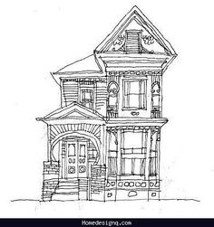 Printable coloring pages for adults/ Victorian Houses