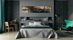 Interior Design. Sensational Modern Bedroom Decor Ideas Presenting Molded Wooden Panels With Concrete Shelving Backsplash Also Grey Neutral Bedding And Pillow Case Decorate Unique Stylish Lounge Chair In Modern Wood Paneling For Walls Ideas. Tantalizing Modern Wood Paneling For Walls Ideas