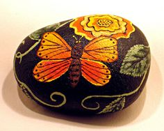 Butterfly and Flower Rock hand painted by getarock on Etsy, $17.00