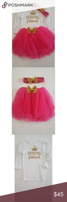 """Birthday Princess outfit 3T-4T WORN ONCE. Like New condition. SMOKE AND PET FREE HOME. NO STAINS OR RIPS. My child wore it for a few hours on her 4th birthday. Comes with long sleeve shirt, tutu and headband. Cotton, polyester, sequin, chiffon tulle. Fits 3T to 4T. Bows are removable.   Tutu - length 11"""" waist 17.25"""" Headband - 3""""x4"""" Matching Sets"""