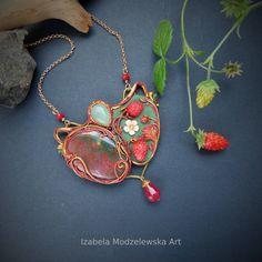 Wild Strawberries, Polymer Clay, Handmade Jewelry, Pendant Necklace, Art, Art Background, Handmade Jewellery, Kunst, Jewellery Making