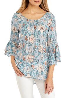 Cupio Blush Women Sleeve Printed Peasant Top - Blue Floral - M Peasant Tops, Tunic Tops, Sweet Style, My Style, Tulip Sleeve, Summer Looks, Long Sleeve Tops, Floral Tops, Dress Up