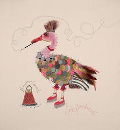 Bonjour canard  Louise Gardiner  Machine embroidery