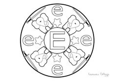 Mandalas del abecedario para colorear: Letra E