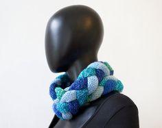 Ocean Waves Braided Cowl  Chunky Blue Infinity Scarf by StripyKite