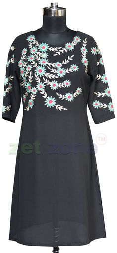Georgette Embroidered Kurti Online From The House of Zet Zone   Shop Now » https://www.zetzone.com/women/Indian-and-Western-Clothing/Tops-and-Tunics