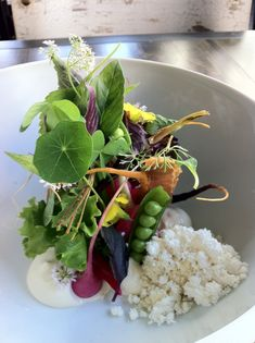 early season legumes and roots, virgin walnut, jambon Bayonne, Vietnamese herbs at Red Medicine in Beverly Hills