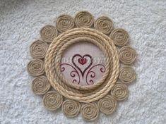 панно на стену из джутового и сизалевого шнуров