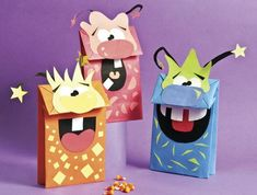 Drawing For Kids, Art For Kids, Crafts For Kids, Diy Crafts, Monster Box, Monster Party, Aquarium Craft, Monster Crafts, Paper Bag Crafts