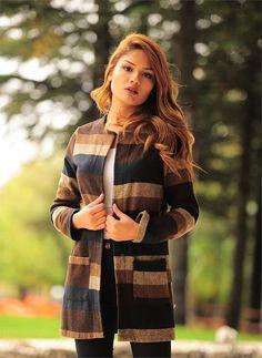 Bayan Kaşe Kahve Krem Şeritli | Modelleri ve Uygun Fiyat Avantajıyla | Modabenle