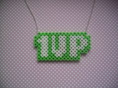 1 Up Video Game Inspired Hama Bead Necklace 8 Bit Nerd. $9.50, via Etsy.