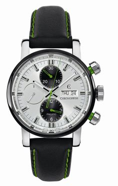 Chronoswiss Pacific Chronograph - Dig that green stitching on the watch strap. Dream Watches, Luxury Watches, Cool Watches, Watches For Men, Unique Watches, Black Watches, Stylish Watches, Gents Watches, Mechanical Watch