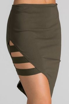 This chic mini skirt features a side band detail with unbalanced cut style skirt dress it up with your favorite tops! comes in black and olive