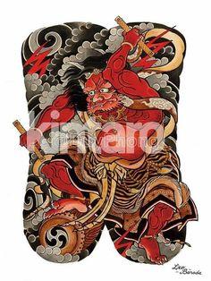 Risultati immagini per raijin Traditional Japanese Tattoo Sleeve, Japanese Demon Tattoo, Tattoo Japanese Style, Japanese Tattoo Designs, Raijin Tattoo, Irezumi Sleeve, Tattoo Tradicional, Naruto Tattoo, Asian Tattoos