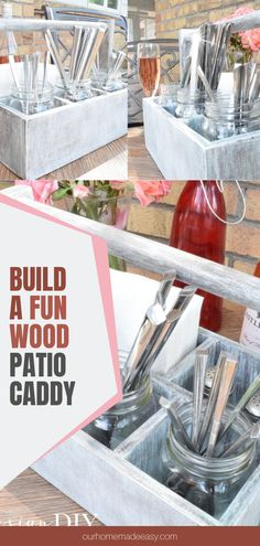 Build this DIY Patio Caddy with the right amount of a rustic touch. This caddy will store all your dining utensils, napkins, and salt & pepper. Choose any canister for the silverware; mason jars, tin cans or little buckets. It's perfect for outdoor dinners or get-togethers this summer. Diy Kitchen Projects, Cool Diy Projects, Wood Patio, Diy Patio, Easy Crafts To Make, Easy Home Decor, Porch Decorating, Decor Crafts, Utensils