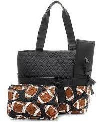 Machine Embroidered Quilted Diaper Bag Football Pattern With Black Trim Includes Free Personal Embroidery