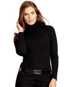 Lauren Ralph Lauren Plus Size Ribbed Cotton Turtleneck