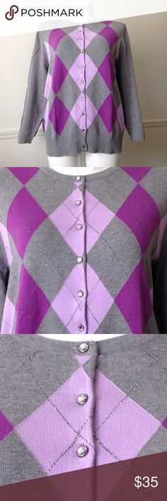 Purple & Gray Argyle Cardigan Brand new without tags! This is from Catherines! It has rhinestone buttons and is absolutely stunning! Catherines Sweaters Cardigans
