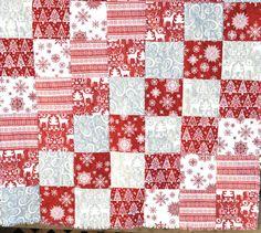 Rustic, Christmas Rag Quilt-FREE SHIPPING- Throw Blanket- Featuring Retro Santa
