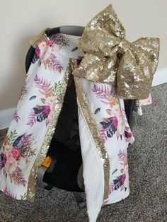 Carseat Canopy Floral Cover with sequin car seat cover car seat canopy boho car seat feather floral bohemian by fashionfairytales on Etsy Baby Girl Car, Baby Girls, Car Covers, Crochet Patterns For Beginners, Craft Stick Crafts, Future Baby, Future Daughter, Baby Accessories, Baby Car Seats