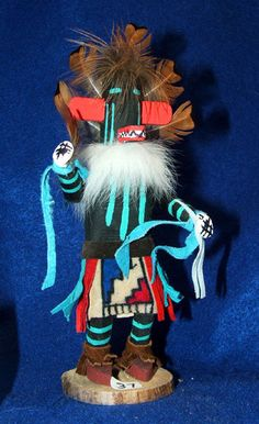 """A colorful handmade 7"""" tall wooden Kachina doll. Navajo, signed by the artist on the bottom (Click on link to see what a piki eater is) $24.95 w/ free shipping! #kachinadoll #kachina #navajo #nativeamerican"""