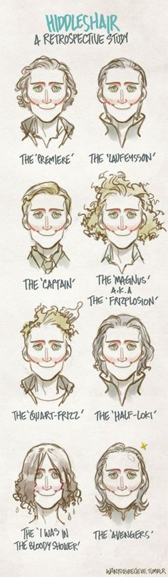 """Hiddleshair - Tom Hiddleston's hair // the only problem I have with this is the little red cheek lines. Being a Joker fan, I thought someone had drawn Tom with a Glasgow smile, and I was like, """"well, that's disturbing..."""" Other then that, cute!"""