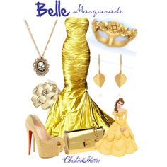 A fashion look from April 2013 featuring prom costume, gold peep toe pumps and flap handbags. Browse and shop related looks. Disney Princess Fashion, Disney Inspired Fashion, Disney Belle, Disney Disney, Disney Themed Outfits, Disney Bound Outfits, Masquerade Dresses, Masquerade Ball, Disney Dress Up