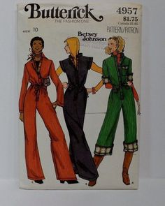 Betsey Johnson Sewing Pattern Butterick for jumpsuits.  Fabulous vintage pattern from the 1980's! Love the jumpsuit pattern offers three sleeve lengths to chose form, cap sleeve, short sleeve and long sleeve!