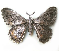 ReStyle Clothing Steampunk Mechanical Moth Hairclip Colour Brass - Steampunk Clothing - Smoked Glass Goggles