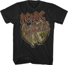 "NEW! ACDC ""You Shook Me All Night Long '80"" Classic Rock Tour Band Adult T-Shirt"