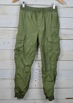 7485dc870af34 Boys GAP Kids Sz L - 10 Army Green Jogger Cargo Pants Jersey Lined Pull On