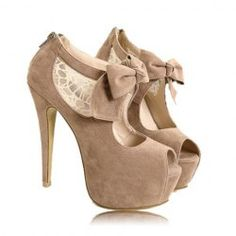 $15.93 Wedding Women's Peep Toed Shoes With Lace and Suede Bowknot Design