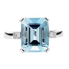 JAN LOGAN 18CT AQUAMARINE AND DIAMOND HARLOW RING