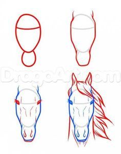 Best Ideas for drawing tutorial for beginners horse – Drawing Techniques Horse Face Drawing, Easy Horse Drawing, Horse Drawing Tutorial, Horse Drawings, Pencil Art Drawings, Art Drawings Sketches, Easy Drawings, Animal Drawings, Drawing Animals