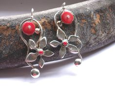 Silver Coral Dangle Earrings-Red Stone Earrings-Floral Sterling Earrings-Silver Coral Flower Earrings - Jewellery Earrings by rioritajewelry on Etsy https://www.etsy.com/listing/30955516/silver-coral-dangle-earrings-red-stone