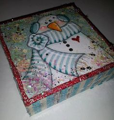 Christmas Snowman original mixed media by meganksuarezartwork