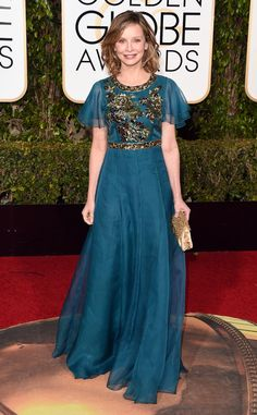 Calista Flockhart/ 2016 Golden Globes/In Andrew Gn....Love the embellishment & fabric. Try the same fabric with texture or pattern for that ultimate bridal look. Adjust these details to fit your style.