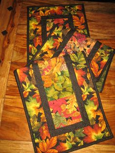 Autumn Fall Table Runner, Fall Orange Yellow Gold Leaves, Quilted Table Runner…