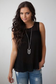 Magnolia Boutique Indianapolis - Pleated Sleeveless Silk Blouse - Black, $32.00 (http://www.indiefashionboutique.com/pleated-sleeveless-silk-blouse-black/)