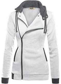 DJT Womens Oblique Zipper Slim Fit Hoodie Jacket Large Light Grey Machine wash, Cold Functional collared neck,long sleeve Hooded with interior drawcord Oblique zipper closure Contrast side pockets and cuffs,chest mock pocket for decoration only Blazers For Women, Jackets For Women, Clothes For Women, Look Fashion, Winter Fashion, Cheap Fashion, Affordable Fashion, Slim Fit Hoodie, Hoodie Jacket