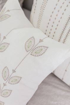 100 % linen and hand embroidered by our artisan partners using traditional stitches and craft techniques. Learn more and view all products on Artha Collections Green Throw Pillows, Bed Pillows, Cushion Cover Designs, The Perfect Touch, Own Home, Hand Embroidery, Decorative Pillows, Stitches, Artisan