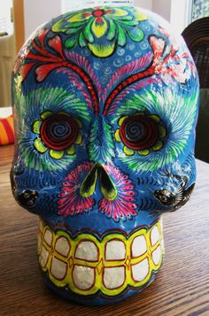 Vintage Mexican Day of the Dead papier mache skull by Felipe Linares - signed. $225.00, via Etsy.